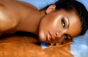 spray tanned woman