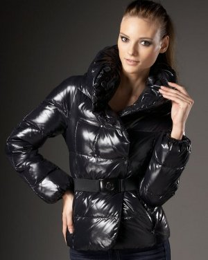 sexy woman wearing shiny jacket